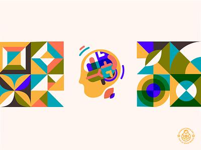 Brain Boost Product Icon mosaic modern bauhaus geometric science human brain health supplement icon packaging