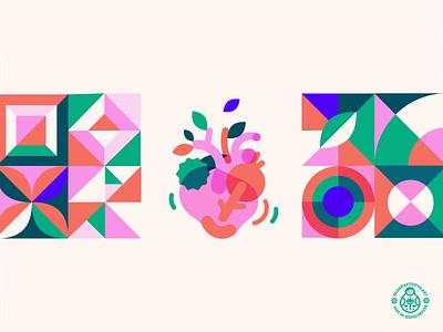 Heart Health Product Icon pattern geometric minimalism bauhaus mosaic identity packaging vector illustration icon design health heart