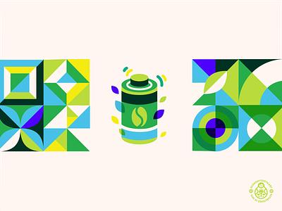 Green Coffee Product Icon energy battery minimalism bauhaus identity packaging icon design geometric pattern green coffee
