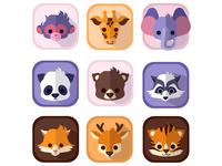 Set of super cute animals