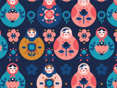 Matryoshka Pattern icon creative market russian scandinavian folk children modern illustration flat icon nesting doll matryoshka