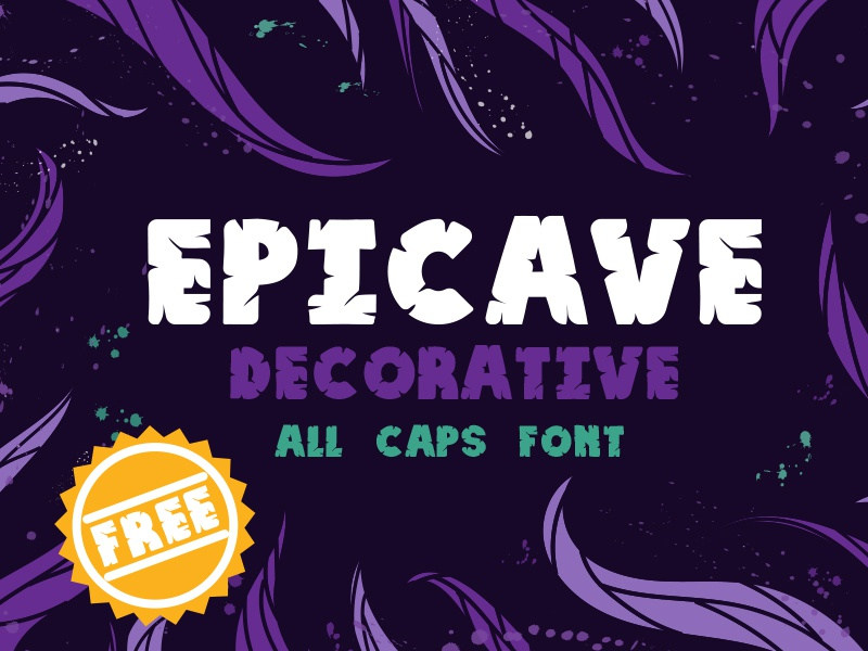 Epicave All Caps Display Free Font stone age cave man calligraphic typographic type font free freebie