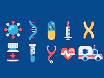 Medical Icons tool blood pressure pill tablet syringe chromosome dna science medical vector illustration icon design