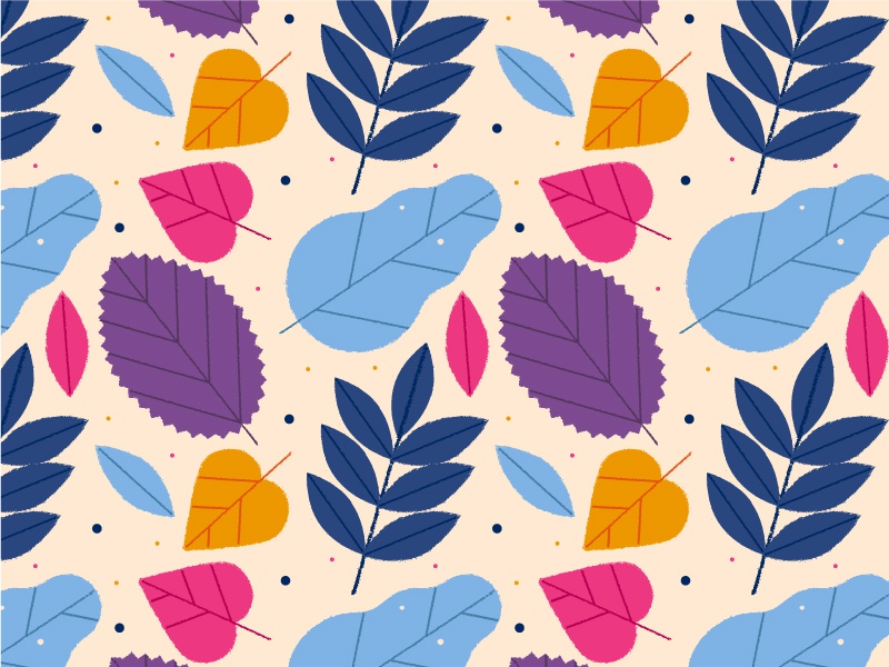Leaves Pattern oak nature autumn summer leaves vector art seamless pattern