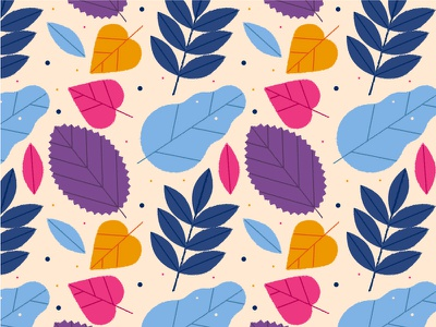 Leaves Pattern oak nature autumn summer leaves vector art seamless pattern