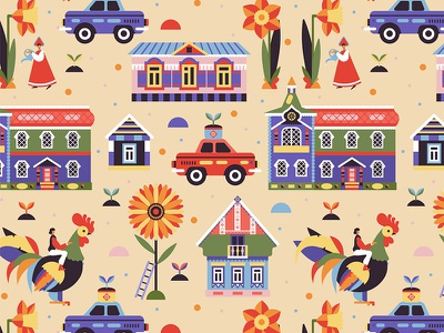Russian Village Pattern for Gabo and Mateo Designs surface pattern textile fabric design russian village nature summer vector art seamless pattern