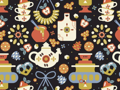 Russian Teaparty For Gabo And Mateo Designs seamless pattern vector art golden tea russian teaparty fabric design textile surface pattern