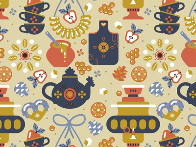 Alt Color Russian Teaparty For Gabo And Mateo Designs pattern surface pattern textile fabric design russian teaparty tea golden vector art seamless pattern