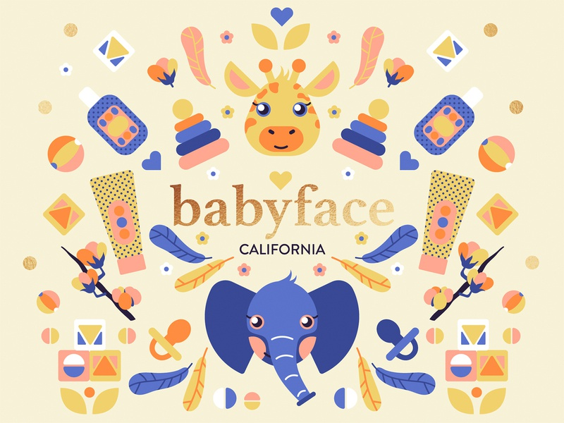 Babyface California package package design cosmetic baby pattern vector illustration flat character design