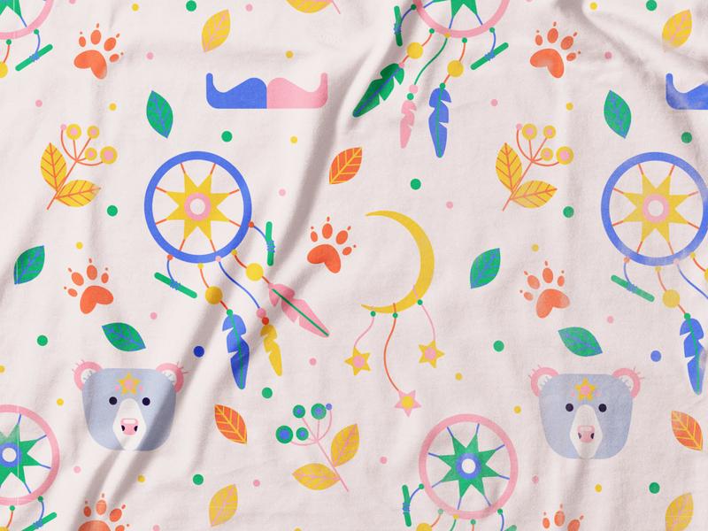Pattern For Buffalo&Bear bohemian boho dreamcatcher moon bear surface pattern design seamless pattern pattern