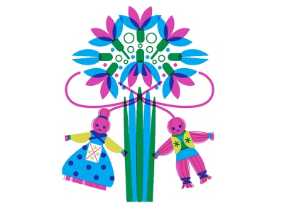First Day Of Spring screenprint moldovan folk flowers cute romanian 60s bulgarian yarn dolls snowdrops retro