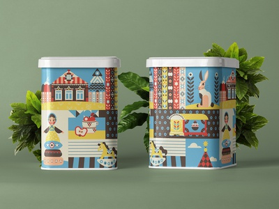 Summer In The Village Illustration On Cans