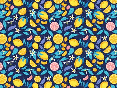 Citrus Pattern Dark ornament seamless pattern grapefruit fresh lemon orange citrus vector illustration