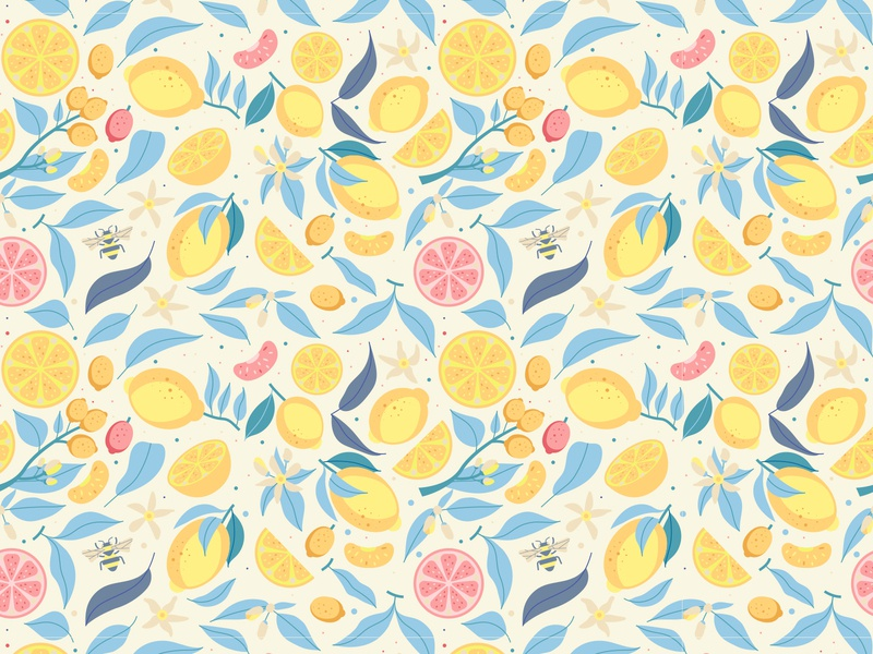 Citrus Pattern Light vector illustration citrus orange lemon fresh grapefruit seamless pattern ornament