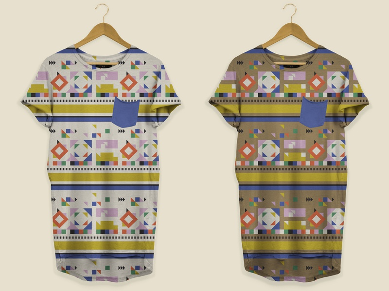 Abstract T-Shirt Design blue gold pink textile design surface pattern design bauhaus tshirt design seamless pattern