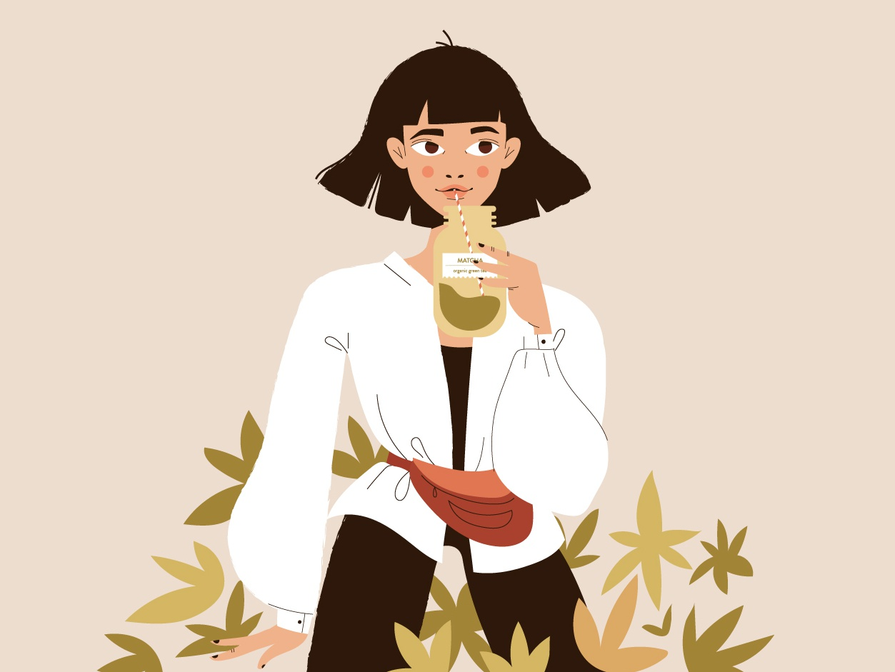 Matcha Girl for Draw it in your style challenge matcha floral woman girl vector illustration character design
