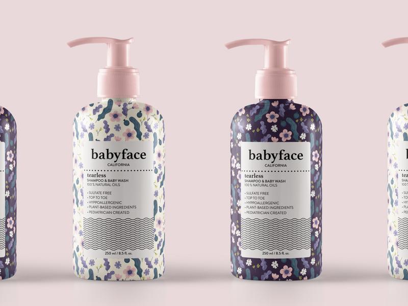 Babyface Bottles Packaging identity design flower patterns packaging baby cosmetic branding