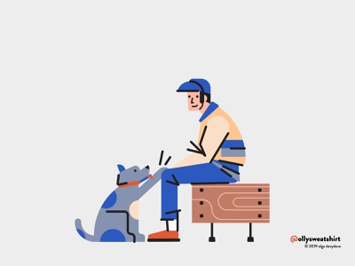 A Boy And A Very Good Boy people vector illustration illustration character design flat animal pet dog