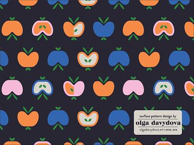 Apples Surface Pattern Design pink orange apple scandinavian surface pattern design