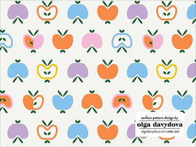 Apples Surface Pattern Light scandinavian style illustration vector surface pattern design apples