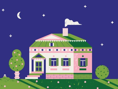 Russian Manor poster folk home house illustration