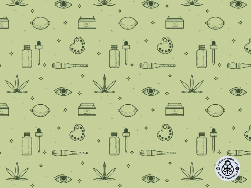 Surface Pattern For Palette Packaging art herb cosmetics cbd vector pattern packaging branding
