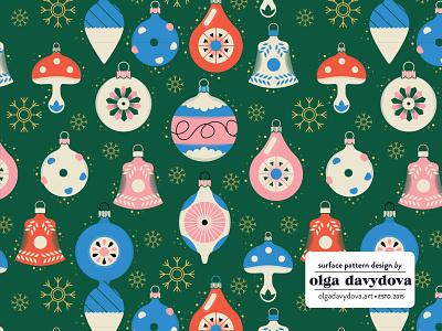 Retro Christmas Decorations Pattern pattern retro christmas decoration vector illustration illustration flat