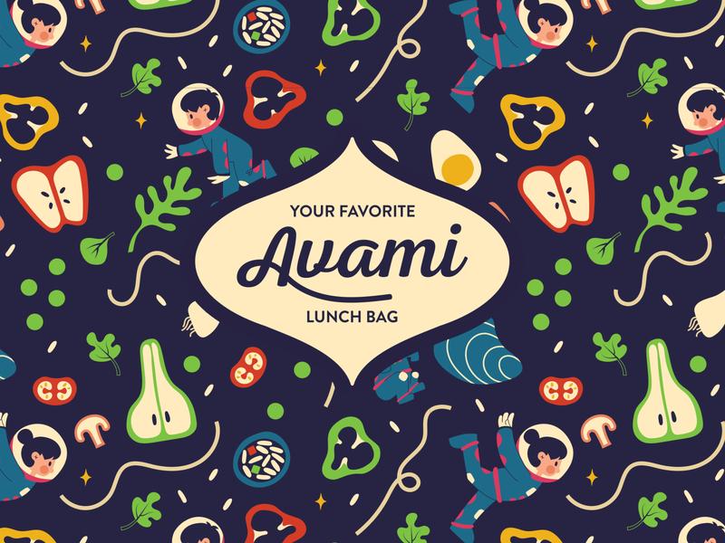 Avami Pattern and Logo typography logo kids astronaut apple sushi food healthy korean kawaii cute pattern identity