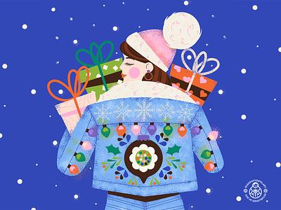 Christmas Girl Wallpapers product illustration gift box vector illustration character girls presents winter holiday chrismas