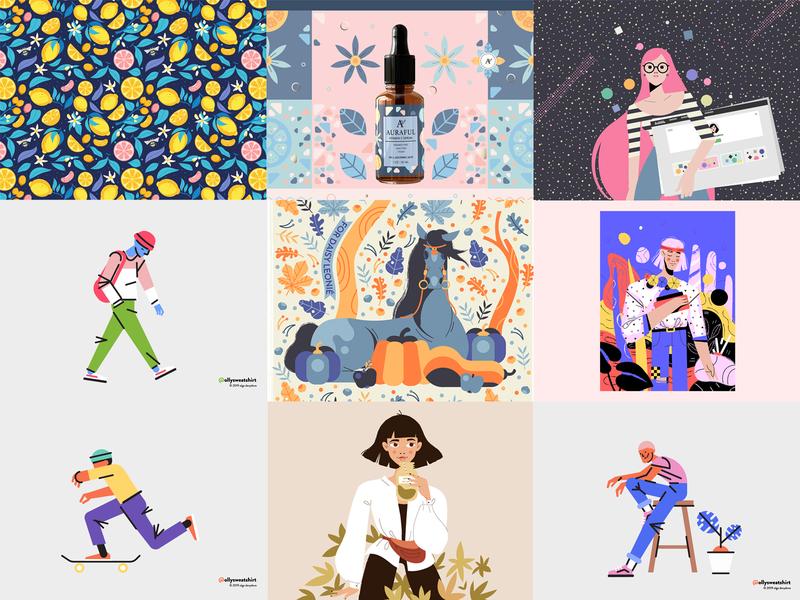 The Best Nine of 2019 ollysweatshirt horse girl skateboard skater dropper serum brand identity branding design character design 2019 best shot