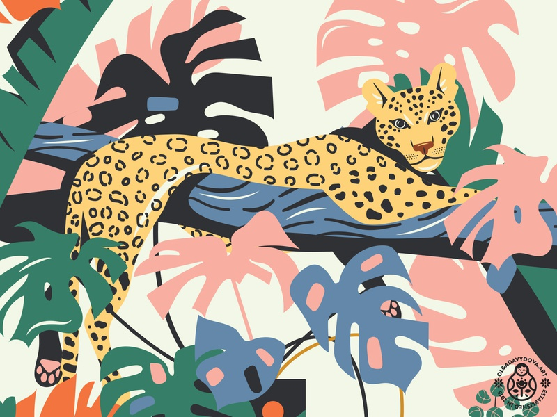 Plant Heroes  (Fragment with a Leopard) colorful palm animal illustration tropical jungle art print plant monstera nature cat leopard