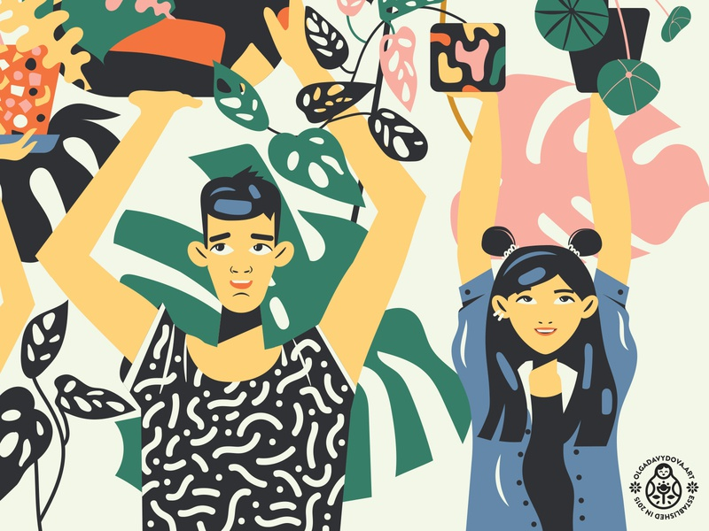 Plant Heroes (Second Fragment) monstera millennials characters product illustration nature plants girl boy
