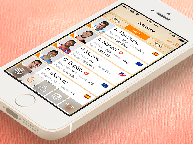 iOS7 Spanish Basketball League game app / 3 ios7 iphone app basketball supermanager acb match live blurred screens ui ux