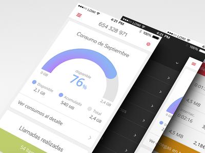 Lowi.es iOS App low cost vodafone lowi.es lowi ios app mobile dashboard paradigma tecnológico user experience visual design menu