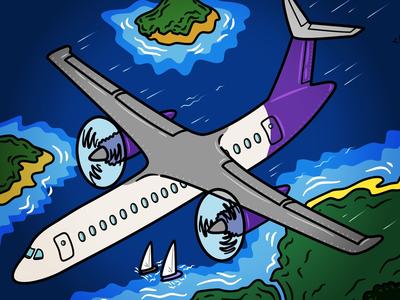 Flight over the islands