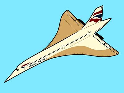 Concorde illustrator illustration airways british airline flight plane aircraft concorde
