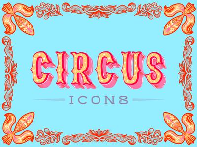 Circus icons Typography