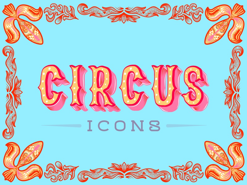 Circus icons Typography detail colour and lines illustration art pattern typography colour illustrator creative vector design illustration circus