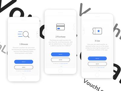 Voucher app concept - Onboarding interaction design payment voucher shopping mcommerce ecommerce uxdesign uidesign app ux ui