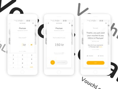 Voucher app concept - Use voucher interaction design payment voucher shopping mcommerce ecommerce uxdesign uidesign app ux ui