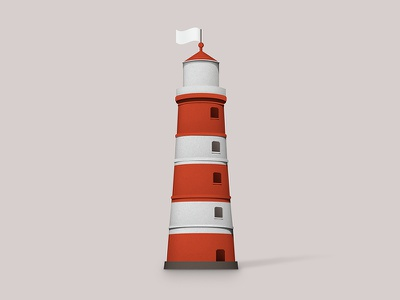 The Tug Lighthouse lighthouse tug illustration paper textures craft flag logo branding subbrands shadow shading
