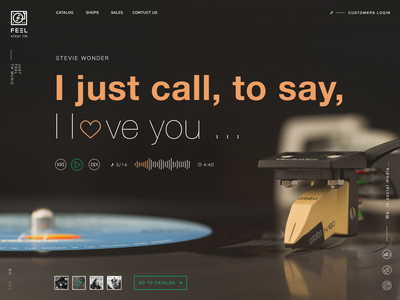 Feel. The landing page concept relax music landing page landingpage landing vinyl concept vintage retro soul ui ux
