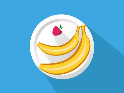 Fruit icon icon banana strawberry flat