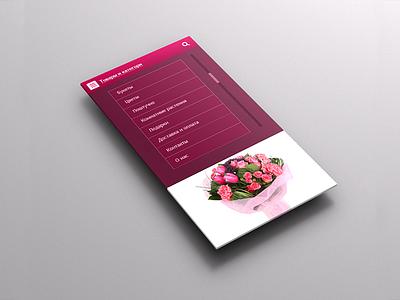 Mobile flower shop UI red menu e-commerce flowers mobile web ui responsive