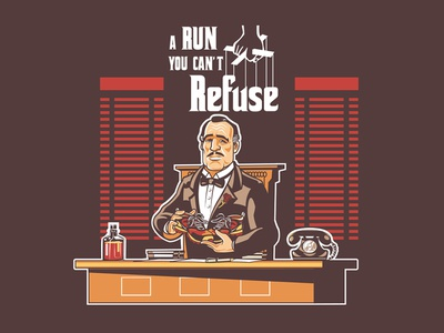 A Run You Cant Refuse character sneaker godfather animated running mascot logo cartoon