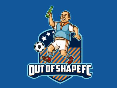 Out Of Shape Football Club apparel mascot cartoon illustration funny comedy sport branding logo