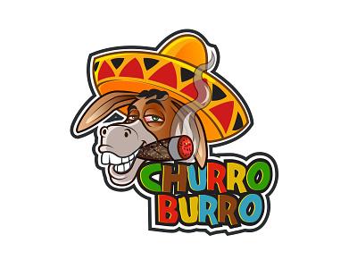 Churro Burro branding amigo sombrero mexico cigar donkey character mascot logo cartoon