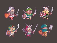 Warrior Cartoon Game Character 1 To 6