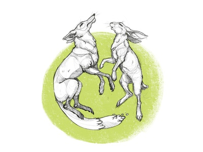 Harmony forest nature green animal bw illustration character sketches hunt sketch rabbit fox