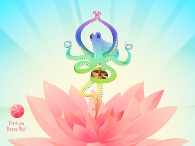 OctoYoga vector color chatacter concept yoga lotus invite octopus animal thanks first shot debut